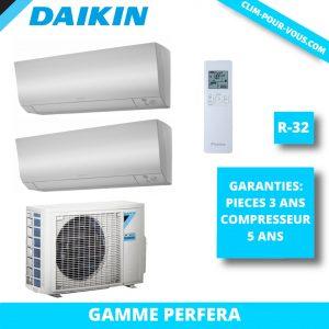 - Fourniture et pose de bi-split 2 x 1.5kW 2MXM40M / CTXM15N Perfera Daikin