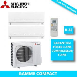 - Fourniture et pose de bi-split 2.5kW+1.5kW Série M Mitsubishi