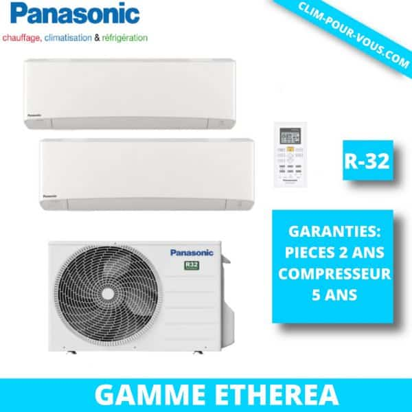 - Fourniture et pose de quadri-split 4 x 1.5kW CU-4Z68TBE / CS-MZ16VKE Etherea Panasonic