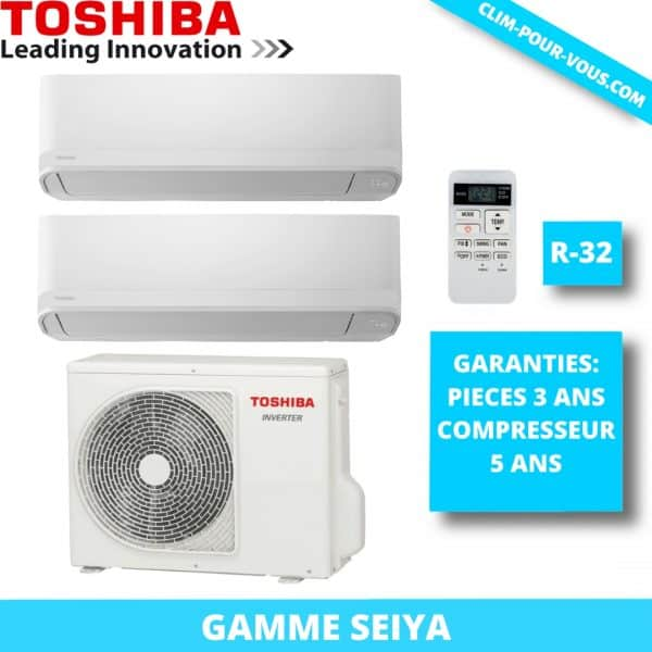 - Fourniture et pose de bi-split 2 x 1.5kW RAS-2M10U2AVG / RAS-B05J2KVG Seiya Toshiba