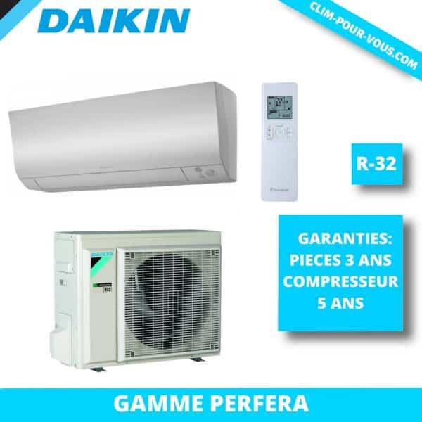 - Fourniture et pose de monosplit 5 kW FTXS50K / RXS50L Daikin Perfera