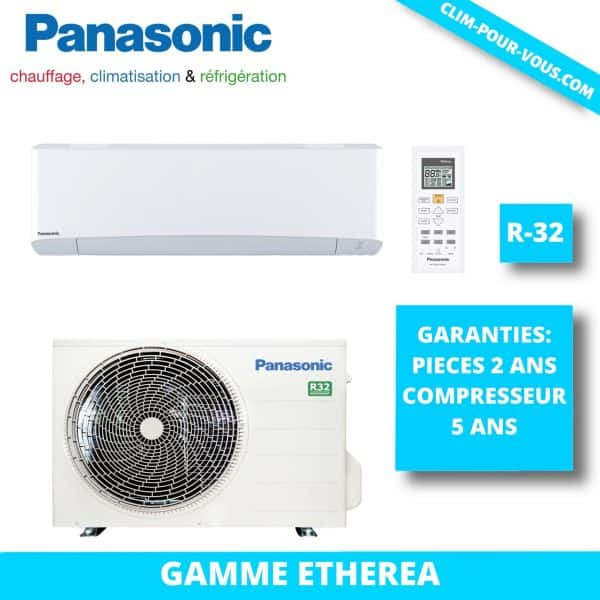 - Fourniture et pose de monosplit 4.2 kW CS-Z42VKEW/ CU-Z42VKE Panasonic Etherea