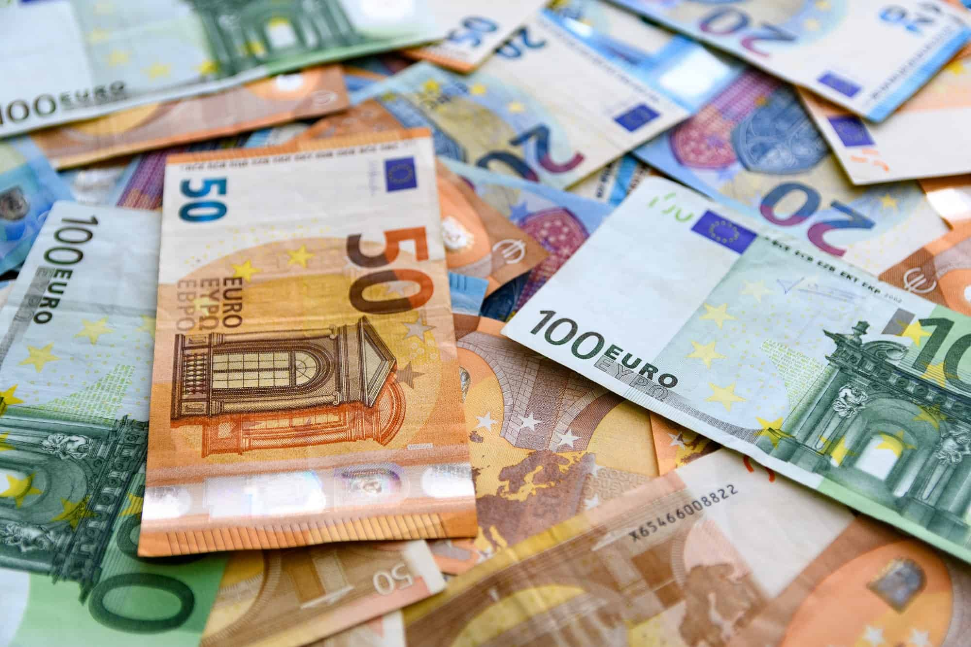 Close-up image of euro bills. Background, money, cash, texture, full frame.